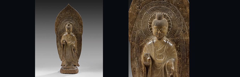 Statuette de bouddha debout en calcaire