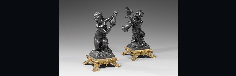 Rare paire de statuettes en bronze