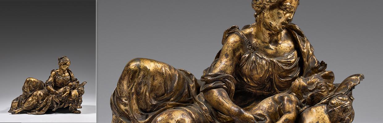 Groupe en bronze ciselé et doré